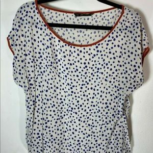 ZARA White Blue Polka Dot Short Sleeve Top Medium
